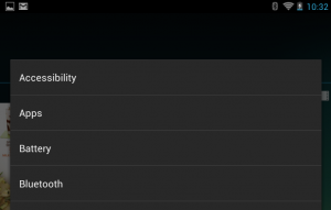 List of settings categories that can be added as a shortcut. Accessibility is the first item.