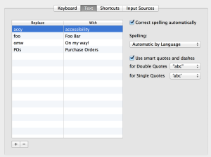 Text tab within the keyboard preferences on a Mac