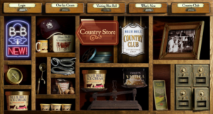Blue Bell Ice Cream web site with mystery meat navigation